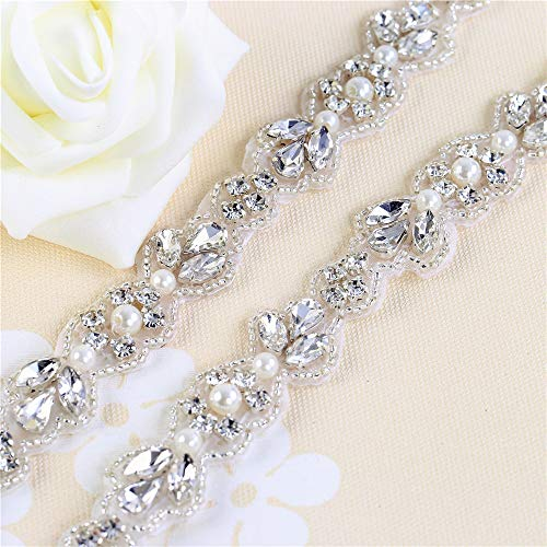 (XINFANGXIU Wedding Dress Belt,Bridal Belts and Sashes,Rhinestone Applique Trim for Women Bride Bridesmaid Princess Dress Belt,Decorate Flower Girl Baskets,Cake,Toasting Flutes,Serving Sets,Headpiece)