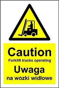 multilingüe señales precaución carretilla elevadora camiones de funcionamiento seguridad señal polaco y Inglés–3mm aluminio señal 300mm x 200mm