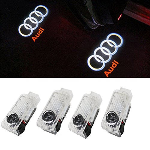 Car Door LED Light Logo HD Projector Easy Installation Low Consumption Shadow Lights 4 Pcs for Audi Easy Installation (4-Pack) (For Audi) (White S3 Bright Board)
