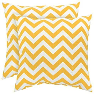 Greendale Home Fashions Indoor/Outdoor Accent Pillows, Yellow Zig Zag, Set of 2 by Greendale Home Fashions