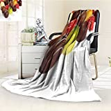 Fleece Blanket 300 GSM Anti-static Super Soft photo of assorted truffles pralines and liqueur filled chocolates on white back Warm Fuzzy Bed Blanket Couch Blanket(60''x 50'')