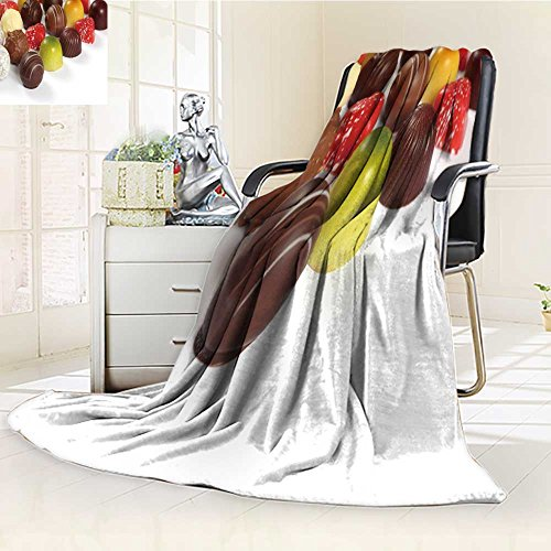 Fleece Blanket 300 GSM Anti-Static Super Soft Photo of Assorted Truffles pralines and Liqueur Filled Chocolates on White Back Warm Fuzzy Bed Blanket Couch Blanket(60