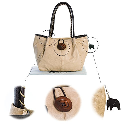 Detail Grey Tote and Dust Button Trendy Bag BHSL Elephant Boutique Charm Large Shoulder Dark Bhsl Designer With Womens Bag qg0YUxpFUw