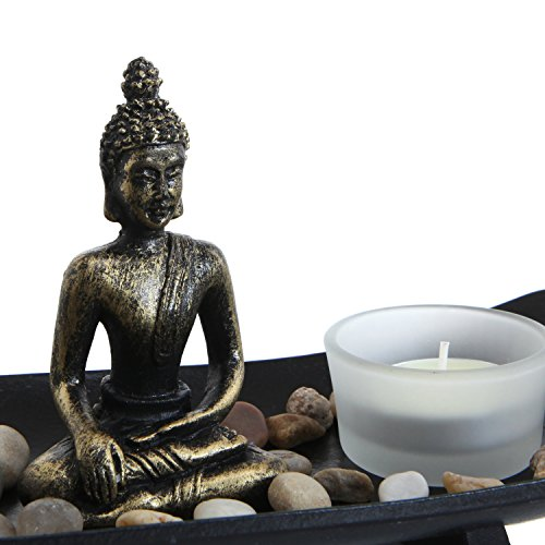 Zen Garden Buddha Statue with Glass Tealight Candle & Incense Burner Holder, Black - MyGift