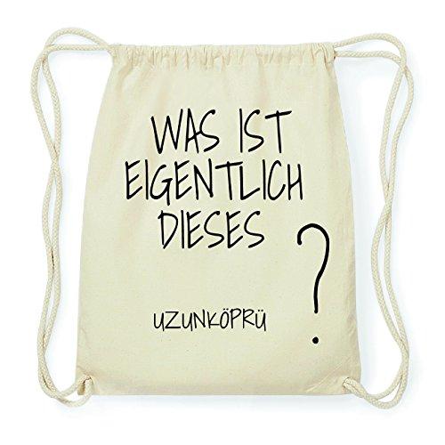 JOllify UZUNKÖPRÜ Hipster Turnbeutel Tasche Rucksack aus Baumwolle - Farbe: natur Design: Was ist eigentlich Ob8F3