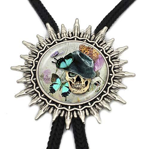 JIA-WALK Tattoo Skull Western Tie Round Glass Dome Sugar Skull Jewelry Mens Neck Tie,A4