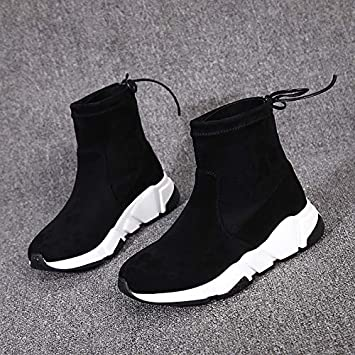 Shukun Botines Botines Mujer Primavera y Otoño Botas Cortas Planas Botas Martin Calcetines Personalidad Calcetines Botas Stretch Boots Invierno: Amazon.es: ...