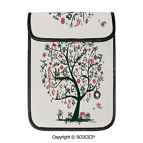 - SCOCICI iPad Pro 12.9 Inch Sleeve Tablet Protective Bag Large Tree with New Year Ornaments Presents and Candles Angels Holiday Theme Decorative Custom Tablet Sleeve Bag Case