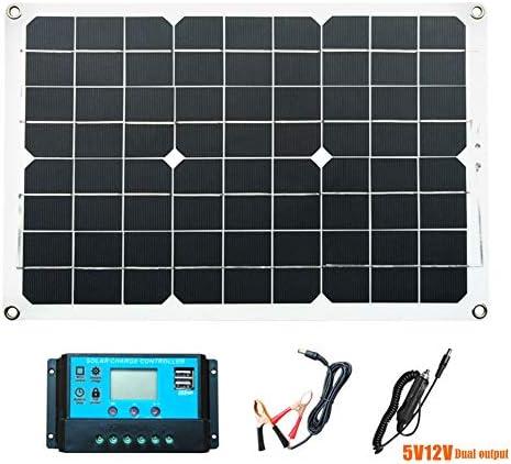 ZHENAI 18W Solarmodule, Monokristallines Flexibles Solarpanel mit Controller und USB-Ausgang, tragbares dünnes Solarladegerät für Außen-, Camping-, Heim-, Handy- und 12-V-Batterieladung