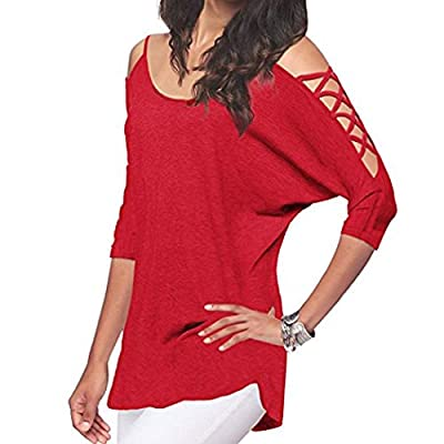 Fiaya Women's Loose Hollowed Out Cold Shoulder Half Sleeve Tunic Tops Loose Blouse Shirts from Fiaya