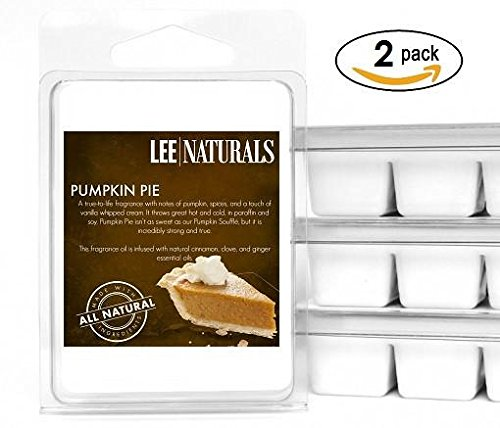Lee Naturals Fall - (2 Pack) PUMPKIN PIE Premium All Natural 6-Piece Soy Wax Melts. Hand Poured Naturally Strong Scented Soy Wax Cubes