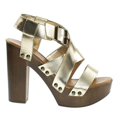 Juliana11s Gldcrp Faux Wooden Platform Chunky Block Heel Dress Sandal Metal Bolt Strap  6