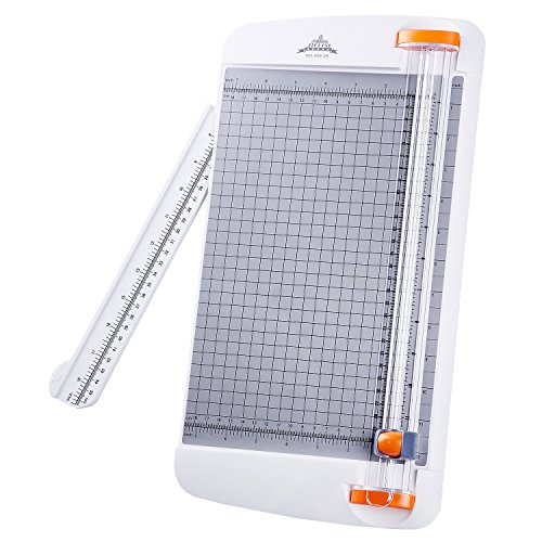 Work4U 12 Inch Paper Cutter, A4 Paper Trimmer with Automatic Security Safeguard Guillotine for Coupon, Craft Paper, Label and Photo, White (909-2B)