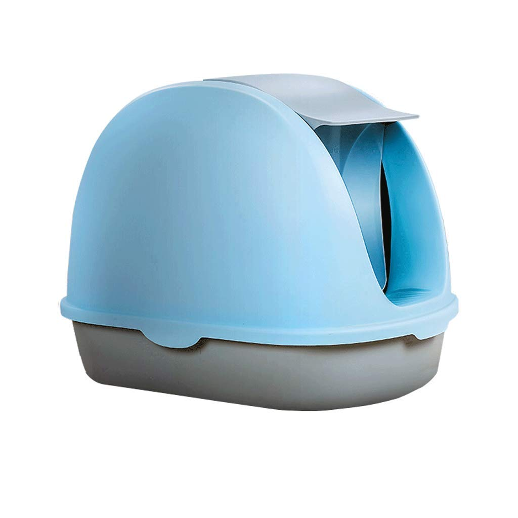 bluee Portable Cat Litter Box Hooded Large Space Toilet with Handle and Bucket Easy to Clean, Deodorant and Spill-proof Design (color   bluee)
