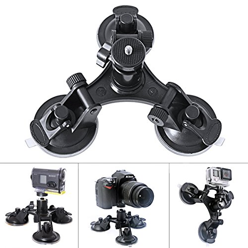 Fantaseal Tri-Cup Action Camera Suction Mount Car Mount w/Ball Head for SONY FDR-X3000R FDR-X1000VR HDR-AS300R HDR AS10 AS15 AS20 AS30 AS50 AS100 Suction Cup Mount Car Mount Holder Window Mount