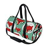 Use4 Red Cartoon Fox in Glasses Travel Duffel Bag Sport Gym Luggage Bag for Men Women