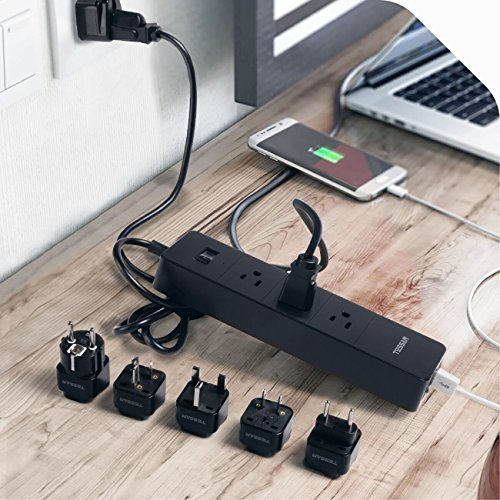 TESSAN 3 Outlet Surge Protector travel Power Strip with 4 USB Ports(20W) Charging Station 5 Ft Cord +Europe& Asia Travel Plug Adapter Set(EU/UK/Italy/HK/Germany/France/Australia/Japan/China/PH) by TESSAN (Image #7)