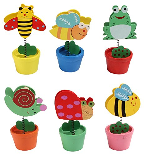 Set of 60, Memo Holders in 6 Unique Designs, Brightly Colored Wooden Place Card Stands with Hinged Clamp - Bumble Bee, Hornet, Butterfly, Snail, Ladybug, Frog (Butterfly Memo Clip)