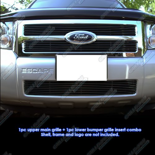 APS Compatible with 08-12 2011 2012 Ford Escape Black Billet Grille Grill Combo Insert