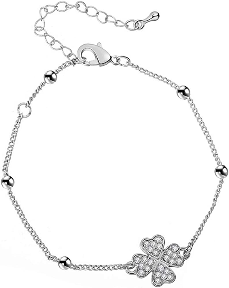 Four Leaf Clover, Silver Plated YOYOMA Ankle Bracelet for Women,Lucky Charm Pendant Anklets Girls Kids Gold and Silver Bracelet with CZ Crystal