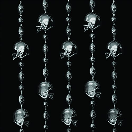 FlashingBlinkyLights Black Football Helmet Mardi Gras Bead Necklaces (Set of 12) -