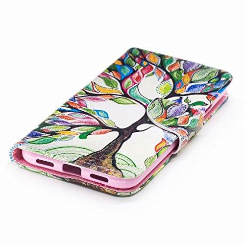Yiizy Google Pixel XL Custodia Cover, Alberi Colorati Design Sottile Flip Portafoglio PU Pelle Cuoio Copertura Shell Case Slot Schede Cavalletto Stile Libro Bumper Protettivo Borsa