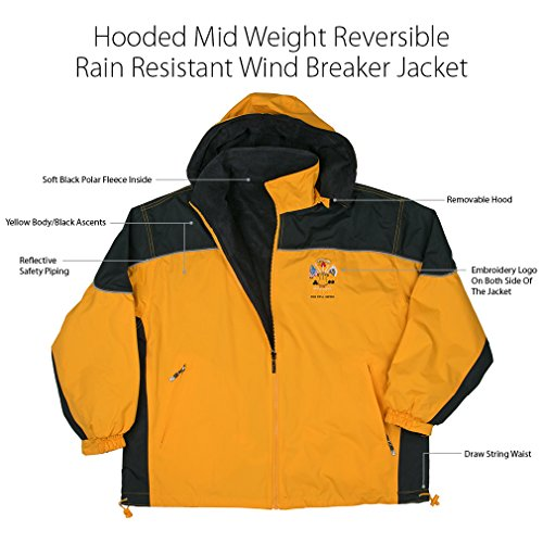 Army Jacket Hooded Mid Weight Reversible Rain Resistant Windbreaker Jacket Royal Blue Body Black Ascents, Soft Black Polar Fleece Inside With Reflect-Able Safety Piping And Removable Hood, Embroidery Logo On Both Side Of The Jacket With Draw Sting Waist XXX-Large Yellow ()