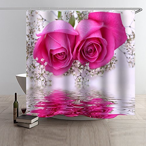 (Maxwelly 3D Pink Rose Shower Curtain Polyester Floral Shower Curtain Set with Hooks for Bathroom Decor - Water Resistant- 72-Inch by 72-Inch)