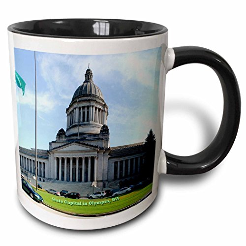 3dRose 156445_4 State Capital in Olympia, Washington Mug, 11 oz, ()