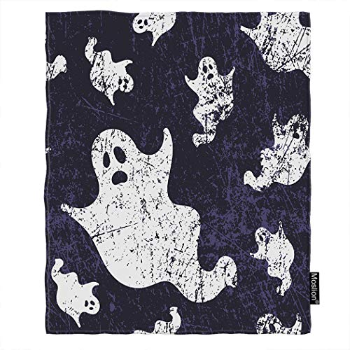 Moslion Ghost Blanket Halloween Scary Skull Ghosts Spirit in Vintage Doodle Paper Throw Blanket Flannel Home Decorative Soft Cozy Blankets 40x50 Inch for Baby Kids Pet Purple White