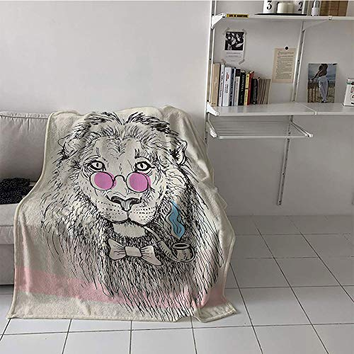 Khaki home Children's Blanket Soft Print Summer Quilt Comforter (60 by 62 Inch,Animal,Magestic Lion Head Hipster Style Glasses Pipes Sketch Print,Beige Black Baby Blue Light Pink
