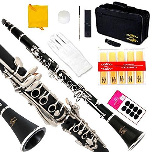 B-flat Clarinet (Glory B Flat Clarinet with Second Barrel, 11reeds,8 Pads Cushions,case,carekit and More Black/silver Keys)