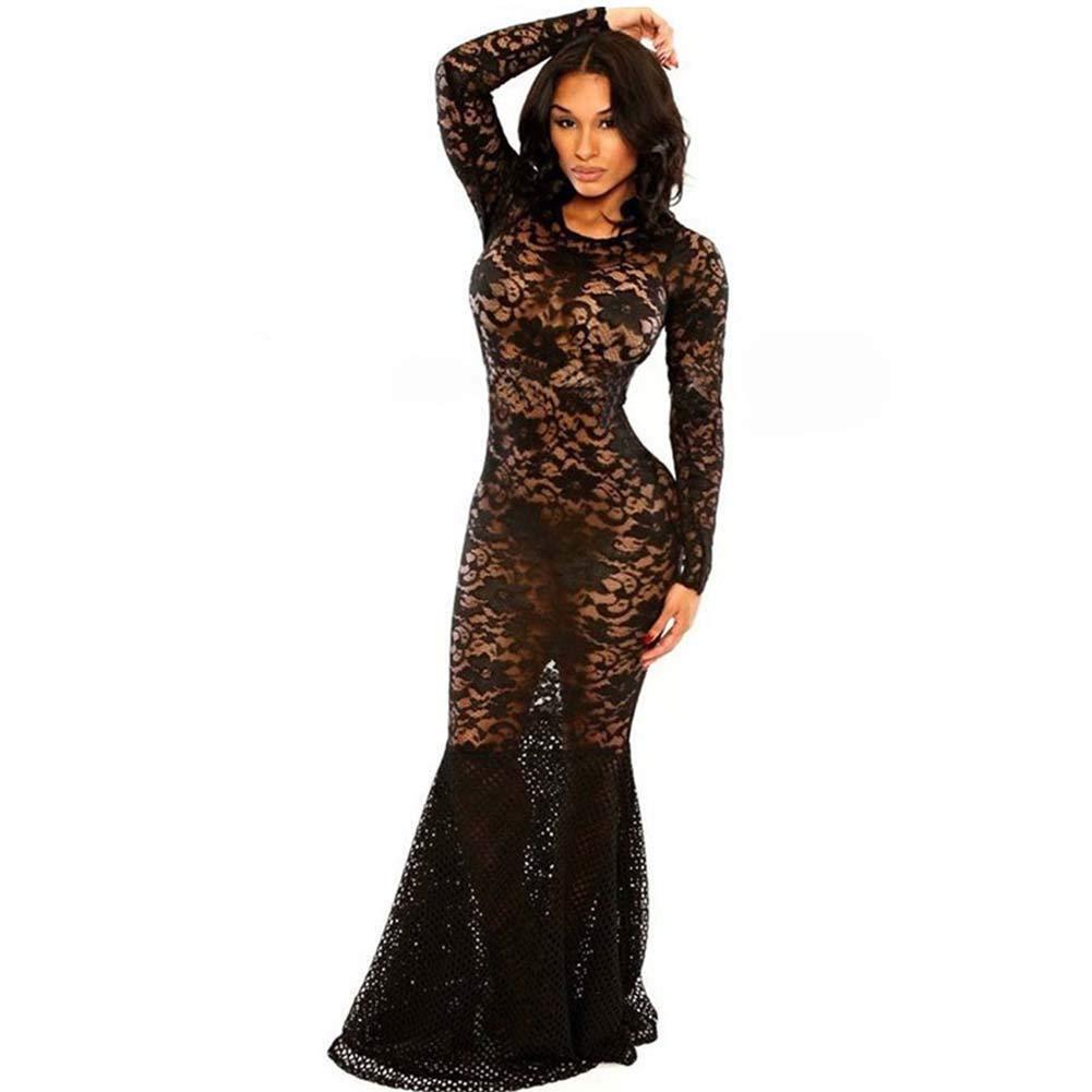 XIAOKEAI Vestido De Noche De Encaje Vestido De Corte Slim Falda De Cola De Pescado Europea Y Americana Flor Hollow Vestido De Tienda De Noche