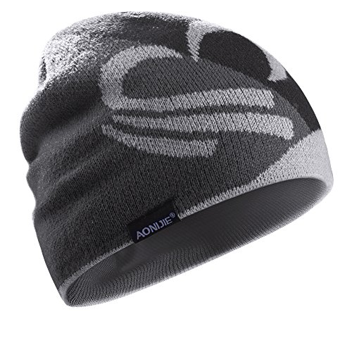 Winter Beanie Hat Man Woman Windproof Knit Hat with Stretchy for Hiking, Cycling, Running and Climbing Black-Grey