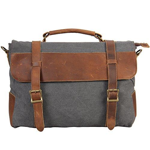 Veevan Canvas Shoulder Bag Laptop Briefcase (Grey)