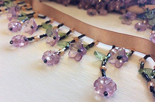 Petite Flower Beaded Fringe - Bugle Fringe Bead