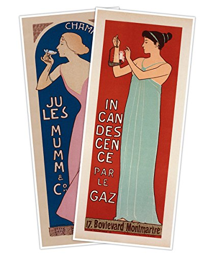 - Set of TWO (2) Art Prints - Champagne Jules Mumm & Incandescence par le Gaz by Maurice Réalier-Dumas circa 1896 - both measure 24