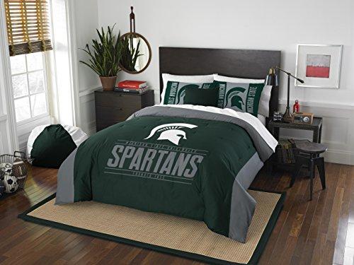 (Northwest Enterprises Michigan State Spartans - 3 Piece KING SIZE Printed Comforter & Shams - NCAA College Bedroom)