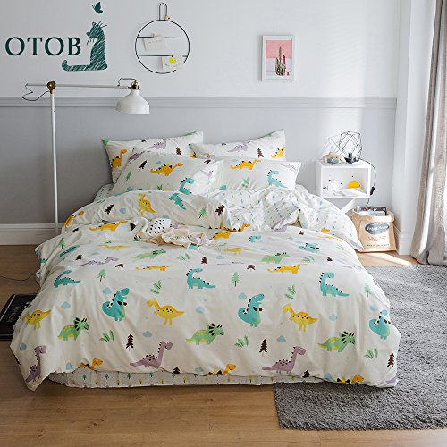 ORoa New Cartoon Dinosaur Blue Twin Duvet Cover Sets for Kids 100% Cotton Reversible Comfortable 3 Pieces Boys Bedding Duvet Cover Pillowcases Girls Bedding Sets Twin (Dinosaur Cover)