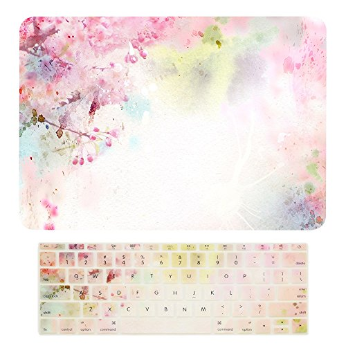 "TOP CASE - Macbook Pro 13 WITHOUT Touch Bar ( 2017 & 2016 Release) 2 in 1, Floral Pattern Matte Hard Case + Keyboard Cover for MacBook Pro 13"" (13"" Diagonally) A1708 without Touch Bar - Cherry Blossom"