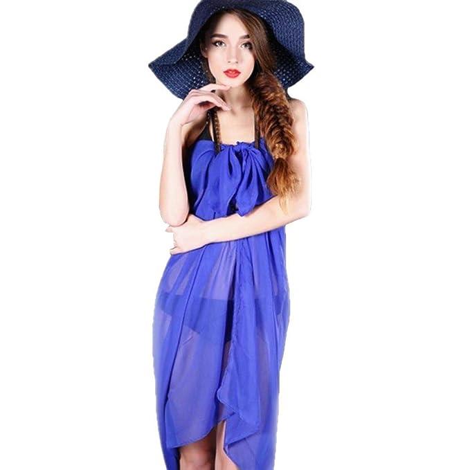 VECDY Moda Falda De Gasa con Color Solido para Mujer Bikini Traje De Baño Ropa De Baño De Falda De Abrigo Mini Media Falda(Azul,Talla única): Amazon.es: ...