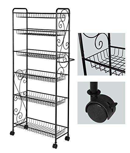 - HLC 6 Tier Freestanding Metal Bathroom Kitchen Storage Shelf Rack with Wheels Black