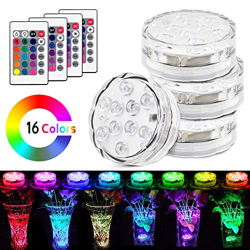 (UBEGOOD Submersible LED Lights with Remote, Waterproof Underwater Led Lights [Battery Operated] Decoration Light for Aquarium, Hot Tub, Pond, Pool, Base, Vase, Garden, Wedding, Party [4 Pack])