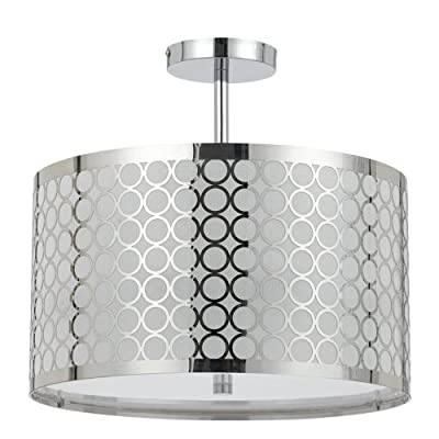 CAL LIGHTING FX-2293/1C 60-watt X 3 Madrid Metal Framed Drum Semi Flush Pendant Fixture