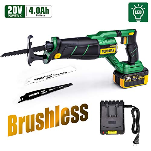 """Brushless Reciprocating Saw, POPOMAN 20V 4.0Ah Cordless Saw with LED, 1-1/8"""" Stroke Length, 0-2500 SPM, 4.0Ah Battery, Fast Charger, 2 Blades for Wood and Metal Cutting - MTW200B"""