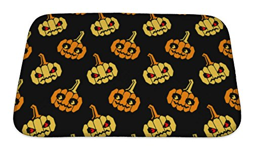 Gear New Bath Mat For Bathroom, Memory Foam Non Slip, Halloween Pattern With Orange And Yellow Pumpkins With Geometrical Shape, 24x17, (New Halloween Pumpkin Carving Patterns)