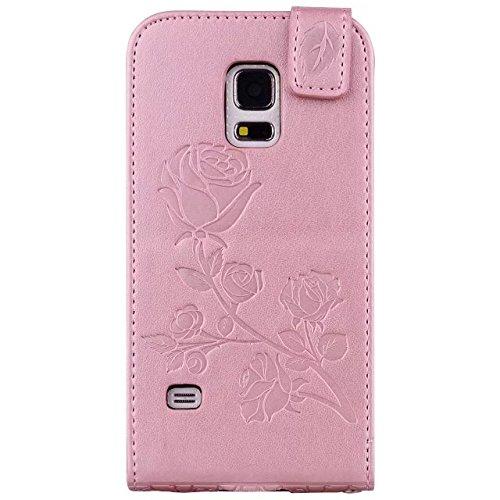 YHUISEN Galaxy S5 Mini Case, en relieve Rose flor patrón Vertical Flip caja de cuero con ranura para tarjeta de Samsung Galaxy S5 Mini ( Color : Gray ) Rose Gold