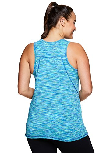 RBX Active Women's Plus Size Activewear Deep V-Neck Tank Top Blissful Blue with Hint of Mint 1X