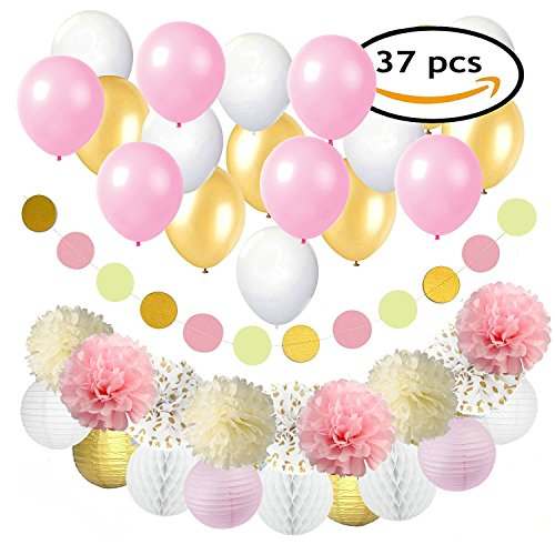 Ultimate Decorated Tree (Pink and Gold Party Decorations for Birthday or Wedding Anniversary – 37 Pack – Make Him an Unforgettable Going Away Event with Honeycomb Supplies for Birthday,Baby Shower,Room decor & Party)