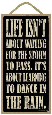 Life isn't about waiting for the storm to pass. It's about learning to Dance In The Rain. 5 x 10 wood sign plaque by hanging-SIGN